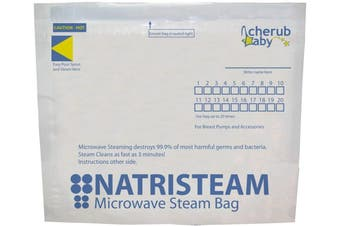 New Cherub Baby Natristeam Microwave Steriliser Bags 6 Pack