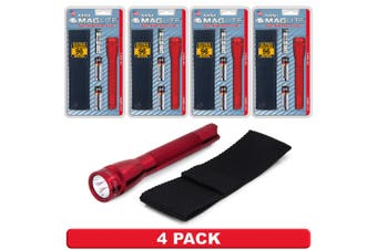 NEW 4 PACK X MAGLITE 2AA CELL RED FLASHLIGHT WITH POUCH MADE IN USA