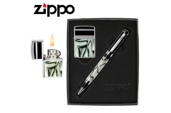 Zippo Black Chrome Classic Style Lighter & Pen Gift Set 24823