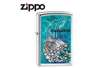 New Zippo High Polish Chrome Zodiac Lighter - Aquarius