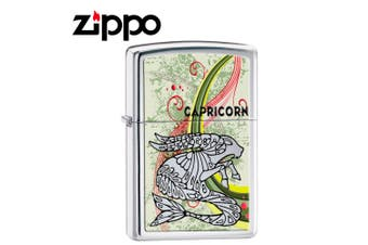 New Zippo High Polish Chrome Zodiac Lighter - Capricorn