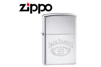 New Zippo High Polish Chrome Jack Daniel Logo Lighter