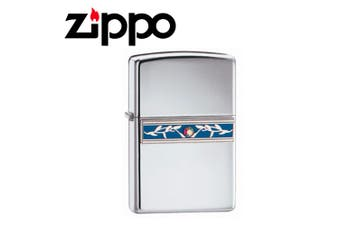 New Zippo High Polish Chrome Indigo Ivy Lighter