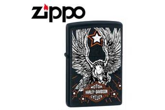 New Zippo Matte Black Harley Davidson Star & Eagle Lighter
