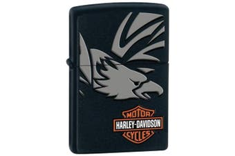 New Zippo Matte Black Harley Davidson Eagle Lighter