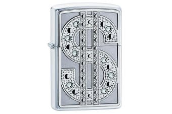 New Zippo High Polish Chrome Bling Emblem Lighter