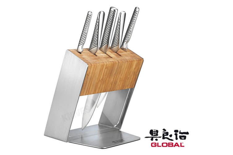 GLOBAL KATANA 6PC KNIFE BLOCK SET STAINLESS STEEL KNIVES UTILITY CHEF COOK JAPAN