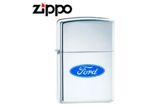 New Zippo High Polish Chrome Ford Logo Oval Lighter
