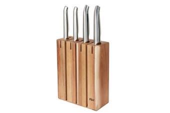 NEW FURI PRO Segmented 5pc Wood Knife Block Set S/ Steel 41367