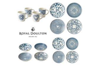 Royal Doulton 16pc ED Ellen DeGeneres Blue Love Dinner Set of 16 Mug Bowl Plate