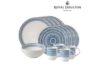 Royal Doulton 16pc ED Ellen DeGeneres Dinner Set of 16 Chevron Dark Blue