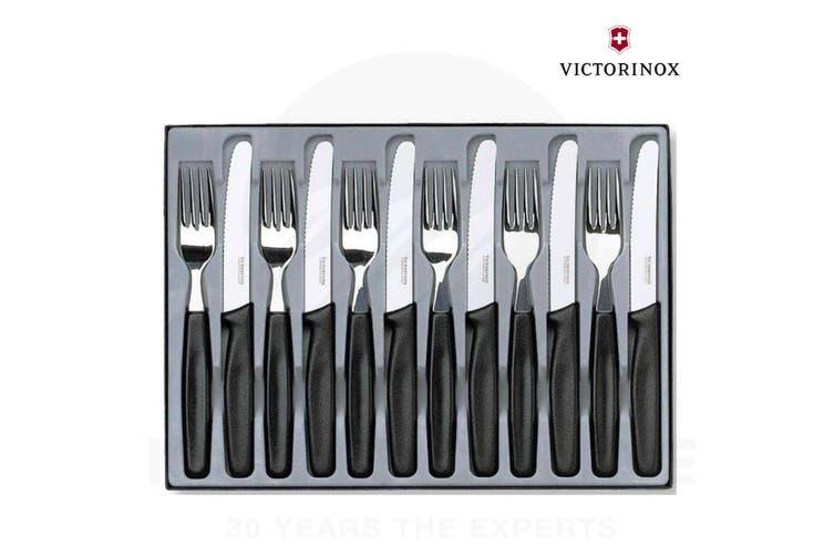 NEW VICTORINOX 12 PIECE CUTLERY KNIFE & FORK SET 12PC BLACK ROUND TIP STAINLESS STEEL