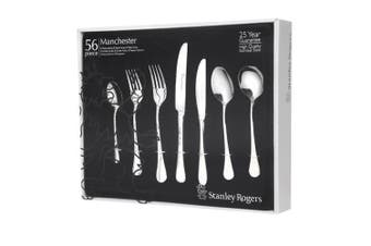 STANLEY ROGERS 56 PIECE STAINLESS STEEL MANCHESTER CUTLERY SET 56PC