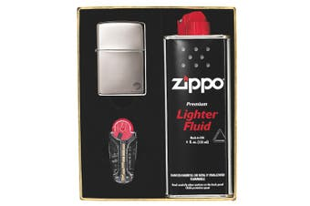 NEW ZIPPO BLACK ICE LIGHTER WITH FLUIDS + FLINTS 90218GP GIFT BOX FREE POST