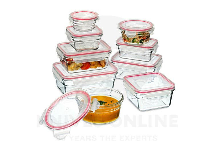 GLASSLOCK OVEN SAFE CONTAINER SET W/ LID 9pc TEMPERED GLASS 28060