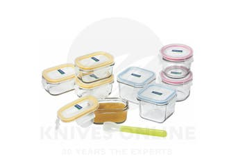 GLASSLOCK GLASS BABY FOOD CONTAINER SET 9pc W/ LID + SILICON SPOON 28099
