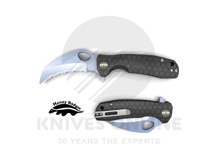 HONEY BADGER SERRATED BLADE CLAW SMALL POCKET FOLDING KNIFE YHB1151 - BLACK