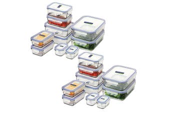 GLASSLOCK MICROWAVE SAFE CONTAINER SET W/ LID 20pc TEMPERED GLASS