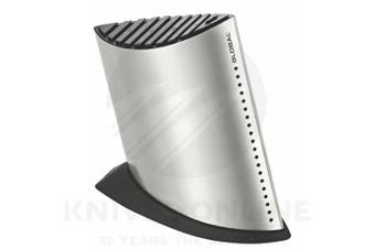 NEW GLOBAL SHIP SHAPE 9 SLOT KNIFE BLOCK - STAINLESS STEEL