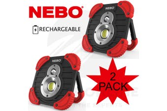NEBO TANGO 2 PACK RECHARGEABLE 1000 LUMEN POWER BANK LED FLASHLIGHT SPOT LIGHT 89535