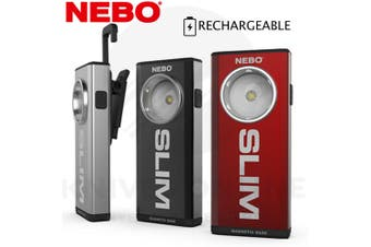NEBO SLIM 500 LUMEN RECHARGEABLE LED THIN POCKET LIGHT HOOK MAGNET CLIP 89532