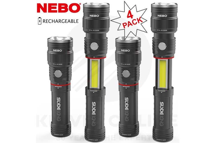 NEBO SLYDE KING 4 PACK RECHARGEABLE 330 LUMEN 4 MODES LED FLASHLIGHT WORK LIGHT 89510