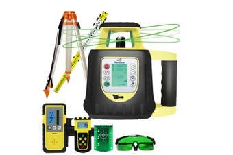 Maxiline Dual Grade Digital Self Leveling Rotating Rotary Laser Level Green Beam + Tripod Staff FRE208G