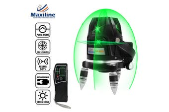 Maxiline 5 Green Beams Self Leveling Cross Line Laser Level + Receiver