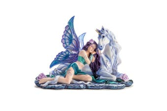 Large Aqua Sleeping Fairy Figurine With Unicorn