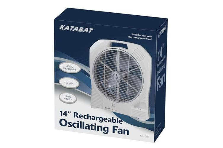 TechBrands 14 Inch AC/DC Rechargeable Oscillating Fan