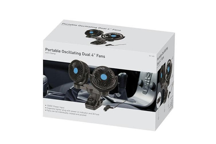 TechBrands Dual 100mm 12V Fans w/ Clamp Mount