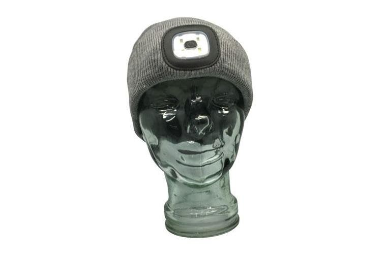 TechBrands Beanie w/ Rechargeable LED Head Lamp - Grey