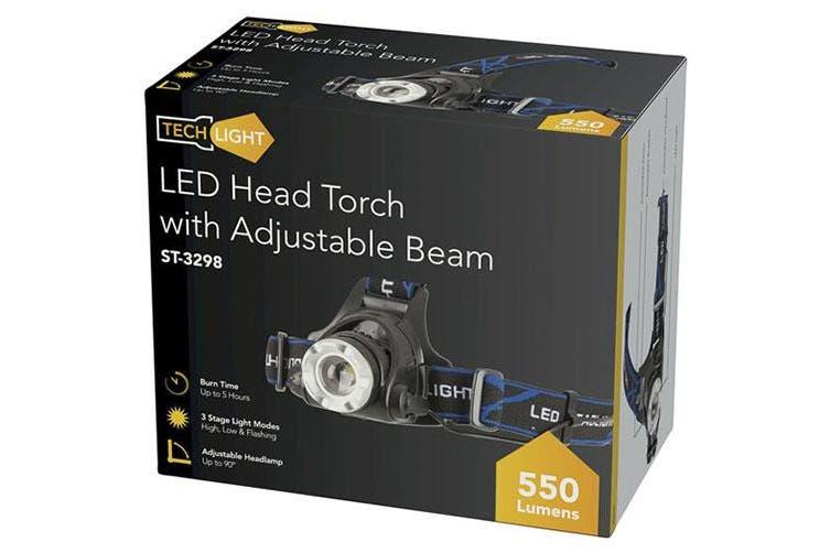 TechBrands Cree XML 550 Lumen Head Torch w/ Adjustable Beam