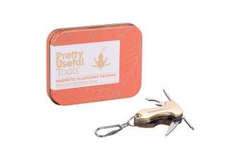 Pretty Useful Tools Magnetic Flashlight Keyring (Gold)