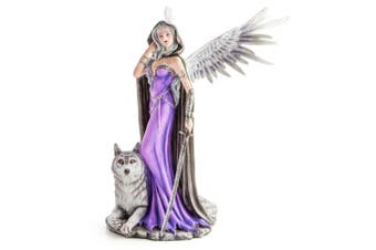 Large Angel in Purple Gown w/ Wolf Companion