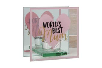 Mothers Day World's Best Glass Tealight Holder - Mum