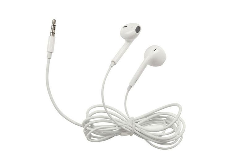 TechBrands 3.5mm Stereo Earphones w/ Microphone/Volume Control (White)