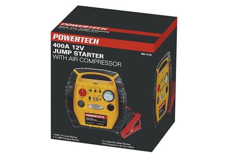 TechBrands Jump Starter Pack w/ Air Comp & USB LED Light (12V 17Ah)