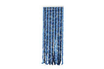 TechBrands Two Tone Blue Chenille Door Curtain - Blue