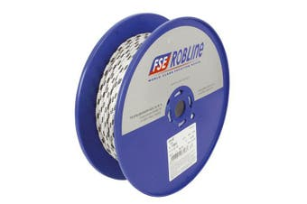 TechBrands Rope Dbl Braided-Polyester 6mm 100m Roll - White+Blu Fleck