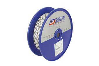 TechBrands Rope Dbl Braided-Polyester 8mm 100m Roll - White+Blu Fleck