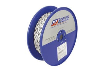 TechBrands Rope Dbl Braided-Polyester 10mm 100m Roll - White+Blu Fleck