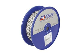 TechBrands Rope Dbl Braided-Polyester 10mm 100m Roll - White+Grn Fleck