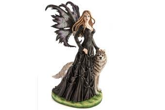 Large Black Fairy Princess with White Wolf Figurine