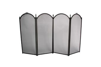 FireUp 4 Fold Black Steel Fire Screen 33cm Panels (77cm H)