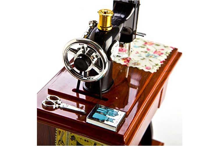 Animated Sewing Machine Musical Box