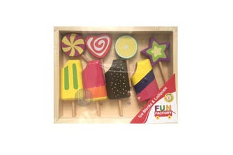 Fun Factory Wooden Pretend Play Toys Food - Ice Blocks & Lollipops Set 8pc