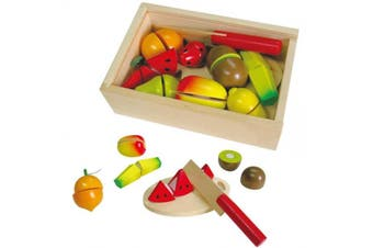 Fun Factory Wooden Pretend Play Toys Food - Fruit Cutting Set 18pc