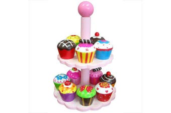 Fun Factory Wooden Pretend Play Toys Food - High Tea CupCake Set with Stand Cake