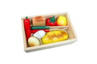 Fun Factory Wooden Pretend Play Toys Food - Cutting Bread in box- Cooking